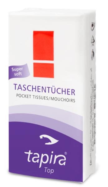 Tapira Taschentücher 4-lagig, hochweiß, Zellstoff 1 Paket = 15 Packungen